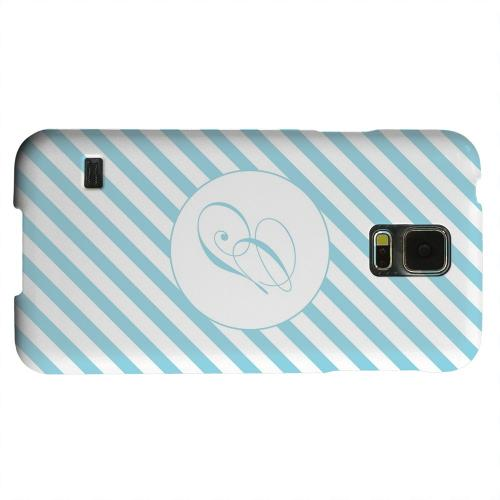 Geeks Designer Line (GDL) Samsung Galaxy S5 Matte Hard Back Cover - Calligraphy Monogram G on Mint Slanted Stripes