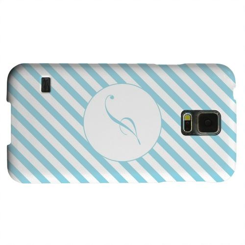 Geeks Designer Line (GDL) Samsung Galaxy S5 Matte Hard Back Cover - Calligraphy Monogram I on Mint Slanted Stripes