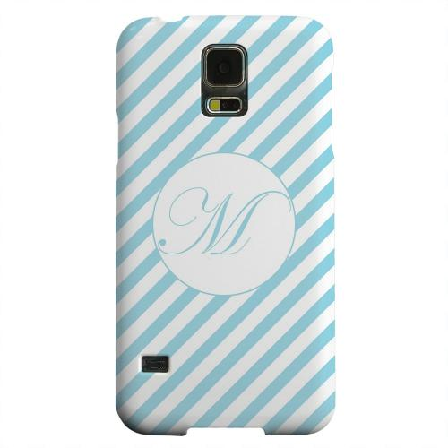 Geeks Designer Line (GDL) Samsung Galaxy S5 Matte Hard Back Cover - Calligraphy Monogram M on Mint Slanted Stripes