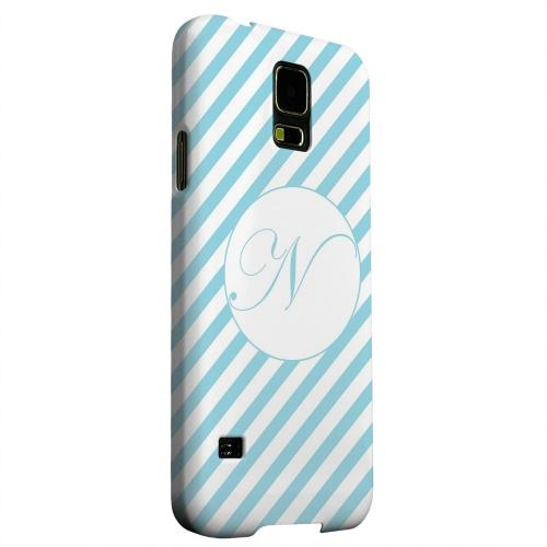 Geeks Designer Line (GDL) Samsung Galaxy S5 Matte Hard Back Cover - Calligraphy Monogram N on Mint Slanted Stripes