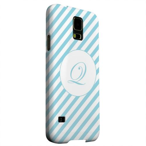Geeks Designer Line (GDL) Samsung Galaxy S5 Matte Hard Back Cover - Calligraphy Monogram Q on Mint Slanted Stripes