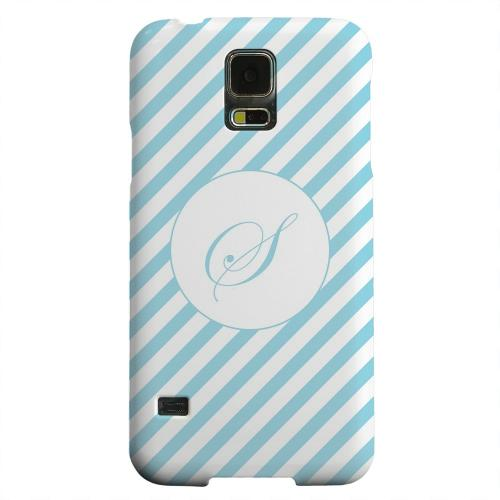 Geeks Designer Line (GDL) Samsung Galaxy S5 Matte Hard Back Cover - Calligraphy Monogram S on Mint Slanted Stripes