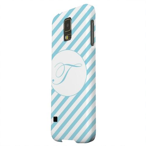 Geeks Designer Line (GDL) Samsung Galaxy S5 Matte Hard Back Cover - Calligraphy Monogram T on Mint Slanted Stripes