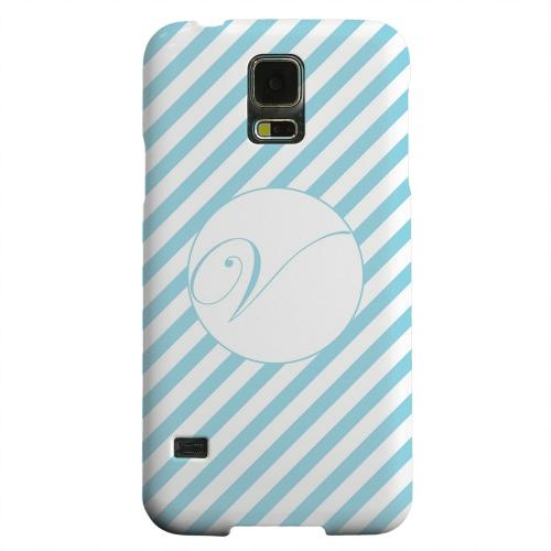 Geeks Designer Line (GDL) Samsung Galaxy S5 Matte Hard Back Cover - Calligraphy Monogram V on Mint Slanted Stripes