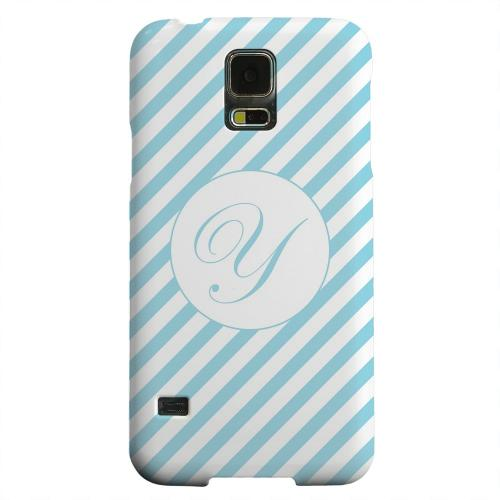 Geeks Designer Line (GDL) Samsung Galaxy S5 Matte Hard Back Cover - Calligraphy Monogram Y on Mint Slanted Stripes