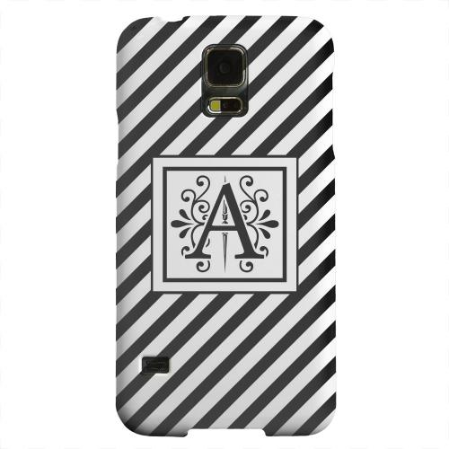 Geeks Designer Line (GDL) Samsung Galaxy S5 Matte Hard Back Cover - Vintage Vine Monogram A On Black Slanted Stripes