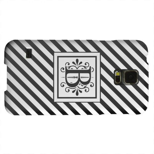 Geeks Designer Line (GDL) Samsung Galaxy S5 Matte Hard Back Cover - Vintage Vine Monogram B On Black Slanted Stripes