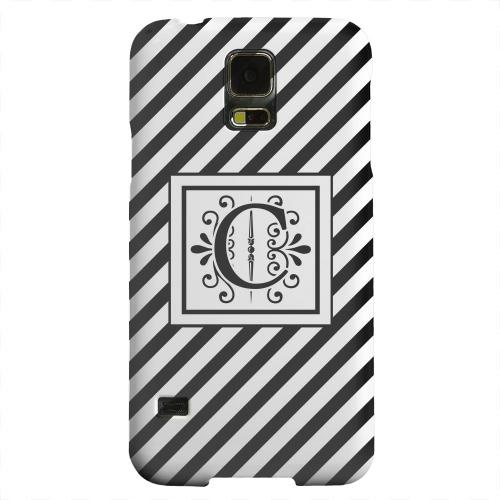 Geeks Designer Line (GDL) Samsung Galaxy S5 Matte Hard Back Cover - Vintage Vine Monogram C On Black Slanted Stripes
