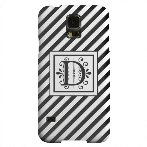 Geeks Designer Line (GDL) Samsung Galaxy S5 Matte Hard Back Cover - Vintage Vine Monogram D On Black Slanted Stripes