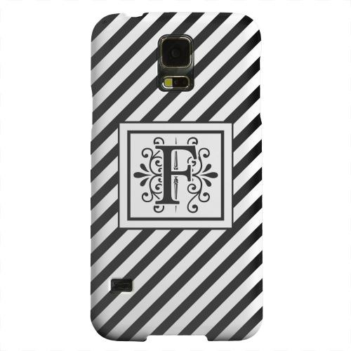 Geeks Designer Line (GDL) Samsung Galaxy S5 Matte Hard Back Cover - Vintage Vine Monogram F On Black Slanted Stripes