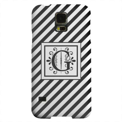 Geeks Designer Line (GDL) Samsung Galaxy S5 Matte Hard Back Cover - Vintage Vine Monogram G On Black Slanted Stripes
