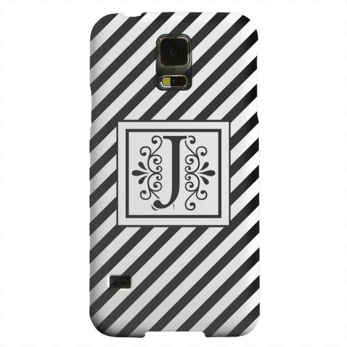 Geeks Designer Line (GDL) Samsung Galaxy S5 Matte Hard Back Cover - Vintage Vine Monogram J On Black Slanted Stripes