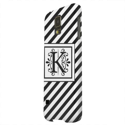 Geeks Designer Line (GDL) Samsung Galaxy S5 Matte Hard Back Cover - Vintage Vine Monogram K On Black Slanted Stripes