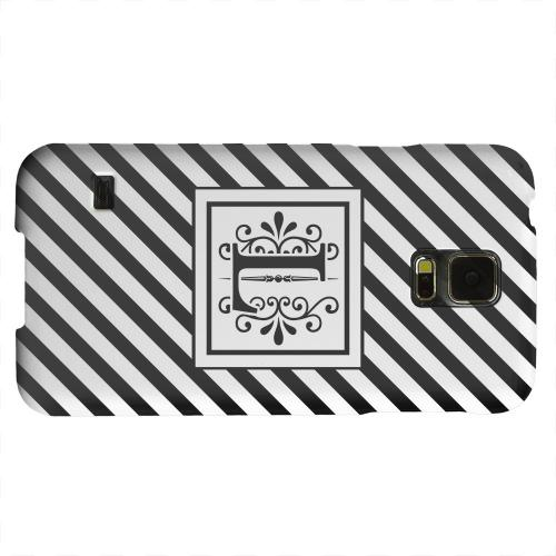 Geeks Designer Line (GDL) Samsung Galaxy S5 Matte Hard Back Cover - Vintage Vine Monogram L On Black Slanted Stripes