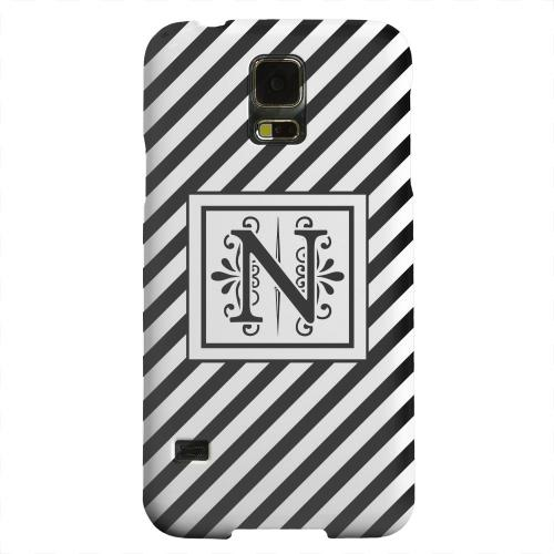 Geeks Designer Line (GDL) Samsung Galaxy S5 Matte Hard Back Cover - Vintage Vine Monogram N On Black Slanted Stripes