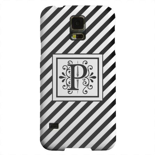 Geeks Designer Line (GDL) Samsung Galaxy S5 Matte Hard Back Cover - Vintage Vine Monogram P On Black Slanted Stripes
