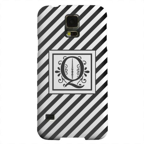 Geeks Designer Line (GDL) Samsung Galaxy S5 Matte Hard Back Cover - Vintage Vine Monogram Q On Black Slanted Stripes
