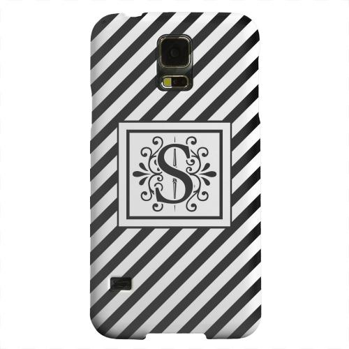 Geeks Designer Line (GDL) Samsung Galaxy S5 Matte Hard Back Cover - Vintage Vine Monogram S On Black Slanted Stripes