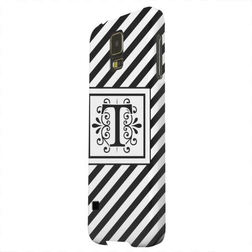 Geeks Designer Line (GDL) Samsung Galaxy S5 Matte Hard Back Cover - Vintage Vine Monogram T On Black Slanted Stripes