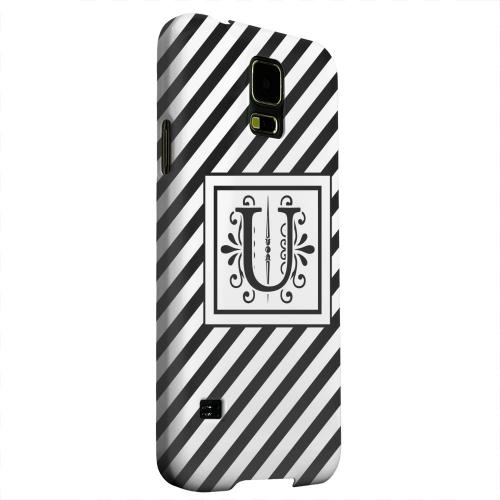 Geeks Designer Line (GDL) Samsung Galaxy S5 Matte Hard Back Cover - Vintage Vine Monogram U On Black Slanted Stripes