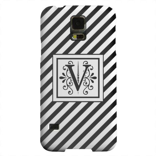 Geeks Designer Line (GDL) Samsung Galaxy S5 Matte Hard Back Cover - Vintage Vine Monogram V On Black Slanted Stripes