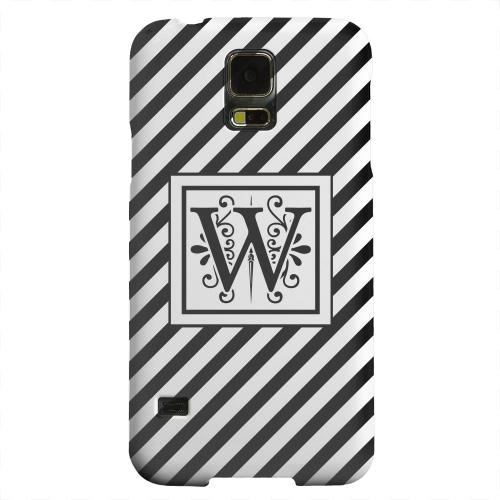 Geeks Designer Line (GDL) Samsung Galaxy S5 Matte Hard Back Cover - Vintage Vine Monogram W On Black Slanted Stripes