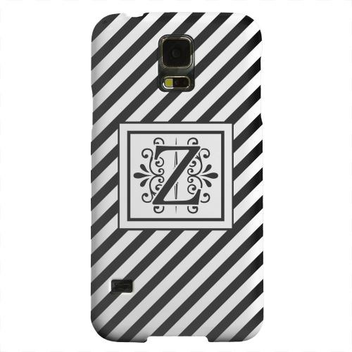 Geeks Designer Line (GDL) Samsung Galaxy S5 Matte Hard Back Cover - Vintage Vine Monogram Z On Black Slanted Stripes