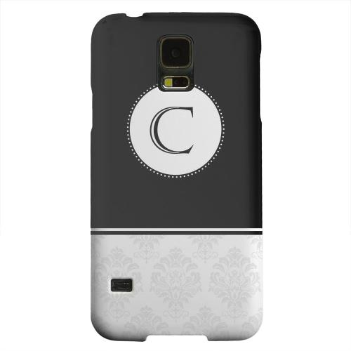 Geeks Designer Line (GDL) Samsung Galaxy S5 Matte Hard Back Cover - Black Monogram C w/ White Damask Design