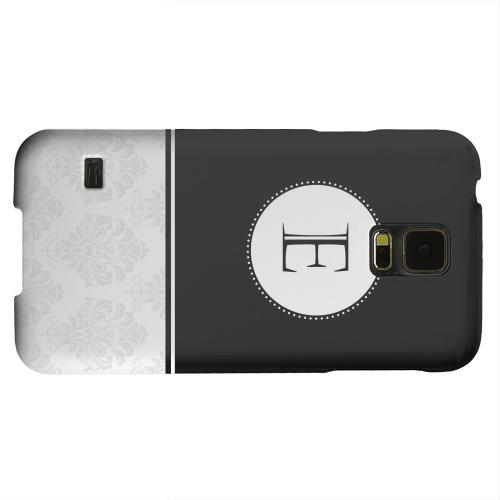 Geeks Designer Line (GDL) Samsung Galaxy S5 Matte Hard Back Cover - Black Monogram E w/ White Damask Design