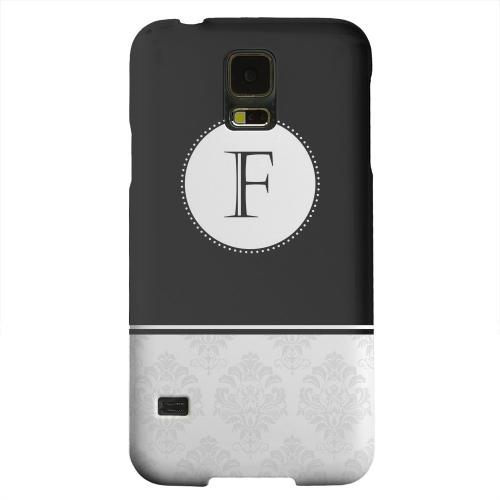 Geeks Designer Line (GDL) Samsung Galaxy S5 Matte Hard Back Cover - Black Monogram F w/ White Damask Design