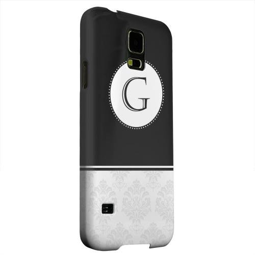 Geeks Designer Line (GDL) Samsung Galaxy S5 Matte Hard Back Cover - Black Monogram G w/ White Damask Design