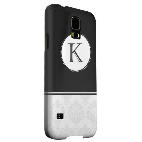 Geeks Designer Line (GDL) Samsung Galaxy S5 Matte Hard Back Cover - Black Monogram K w/ White Damask Design