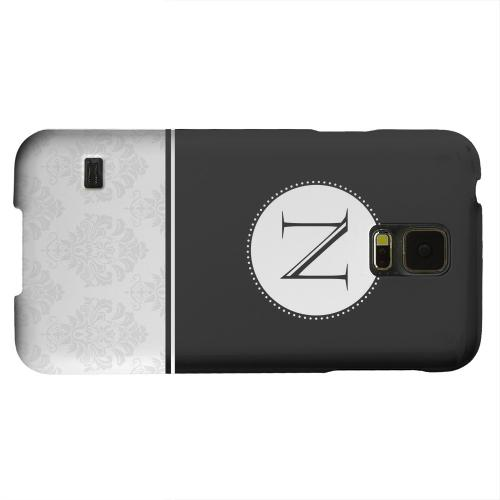 Geeks Designer Line (GDL) Samsung Galaxy S5 Matte Hard Back Cover - Black Monogram N w/ White Damask Design