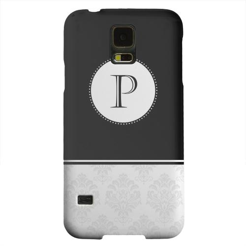 Geeks Designer Line (GDL) Samsung Galaxy S5 Matte Hard Back Cover - Black Monogram P w/ White Damask Design