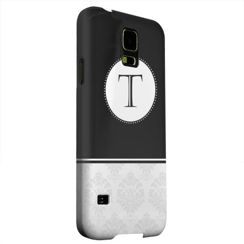 Geeks Designer Line (GDL) Samsung Galaxy S5 Matte Hard Back Cover - Black Monogram T w/ White Damask Design