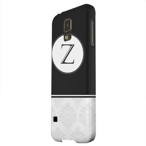 Geeks Designer Line (GDL) Samsung Galaxy S5 Matte Hard Back Cover - Black Monogram Z w/ White Damask Design