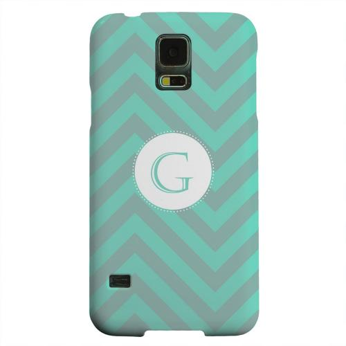 Geeks Designer Line (GDL) Samsung Galaxy S5 Matte Hard Back Cover - Seafoam Green Monogram G on Zig Zags