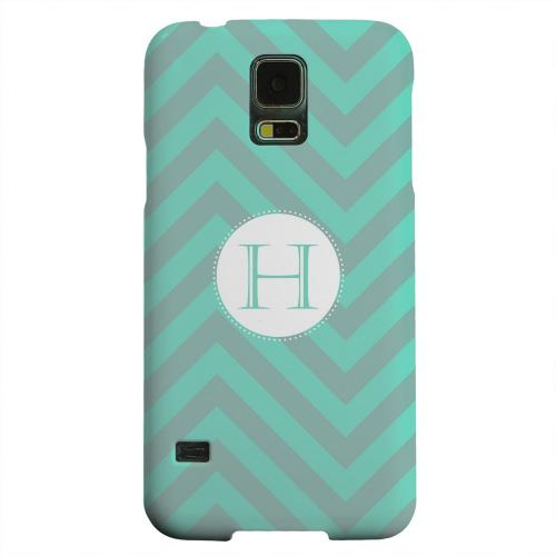 Geeks Designer Line (GDL) Samsung Galaxy S5 Matte Hard Back Cover - Seafoam Green Monogram H on Zig Zags