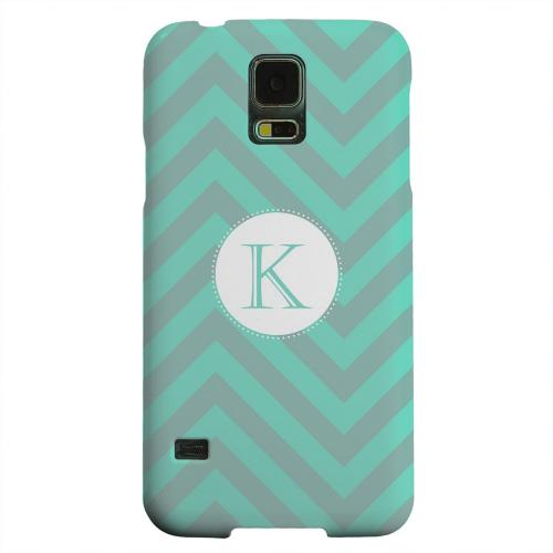 Geeks Designer Line (GDL) Samsung Galaxy S5 Matte Hard Back Cover - Seafoam Green Monogram K on Zig Zags