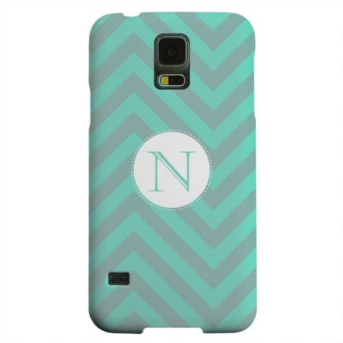 Geeks Designer Line (GDL) Samsung Galaxy S5 Matte Hard Back Cover - Seafoam Green Monogram N on Zig Zags