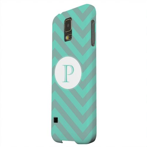 Geeks Designer Line (GDL) Samsung Galaxy S5 Matte Hard Back Cover - Seafoam Green Monogram P on Zig Zags