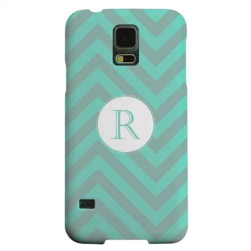 Geeks Designer Line (GDL) Samsung Galaxy S5 Matte Hard Back Cover - Seafoam Green Monogram R on Zig Zags