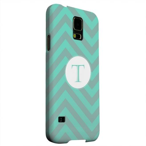 Geeks Designer Line (GDL) Samsung Galaxy S5 Matte Hard Back Cover - Seafoam Green Monogram T on Zig Zags