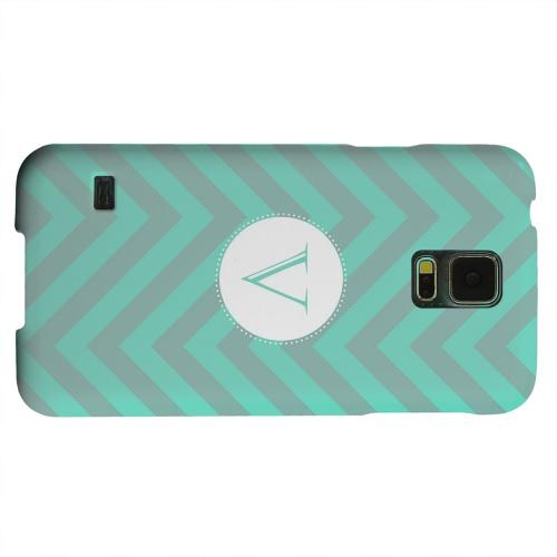 Geeks Designer Line (GDL) Samsung Galaxy S5 Matte Hard Back Cover - Seafoam Green Monogram V on Zig Zags