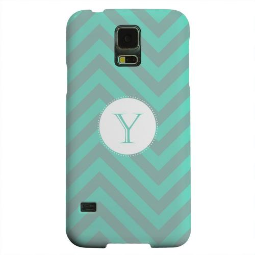 Geeks Designer Line (GDL) Samsung Galaxy S5 Matte Hard Back Cover - Seafoam Green Monogram Y on Zig Zags