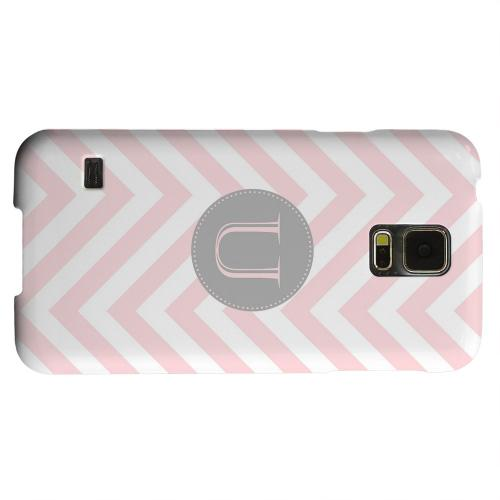 Geeks Designer Line (GDL) Samsung Galaxy S5 Matte Hard Back Cover - Gray Button Monogram U on Pale Pink Zig Zags
