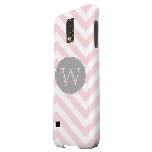 Geeks Designer Line (GDL) Samsung Galaxy S5 Matte Hard Back Cover - Gray Button Monogram W on Pale Pink Zig Zags