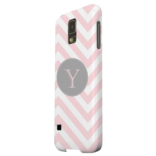 Geeks Designer Line (GDL) Samsung Galaxy S5 Matte Hard Back Cover - Gray Button Monogram Y on Pale Pink Zig Zags