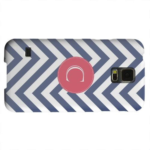 Geeks Designer Line (GDL) Samsung Galaxy S5 Matte Hard Back Cover - Cherry Button Monogram C on Navy Blue Zig Zags