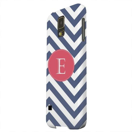 Geeks Designer Line (GDL) Samsung Galaxy S5 Matte Hard Back Cover - Cherry Button Monogram E on Navy Blue Zig Zags